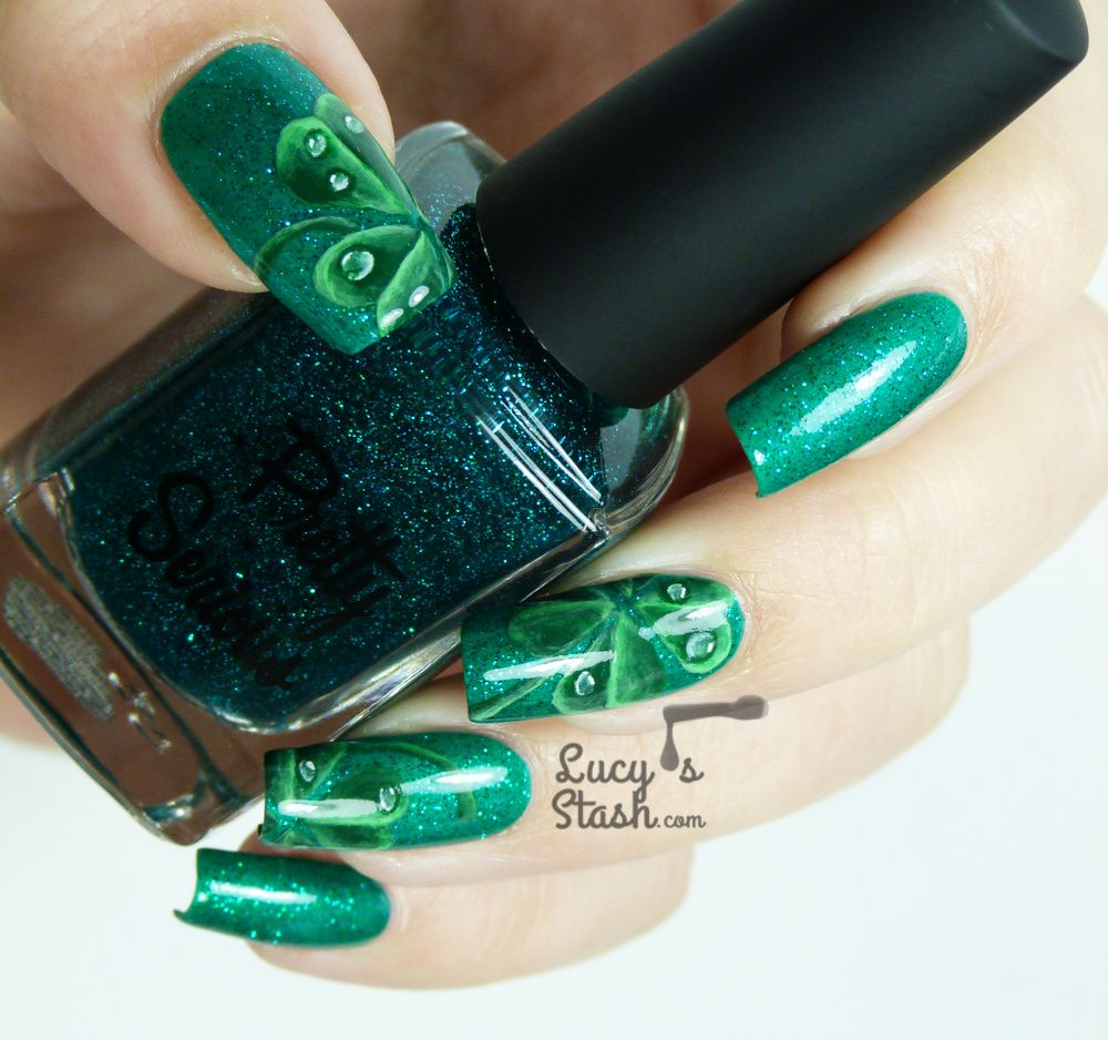 Four-Leaf Clover Nail Art for St. Patrick's Day