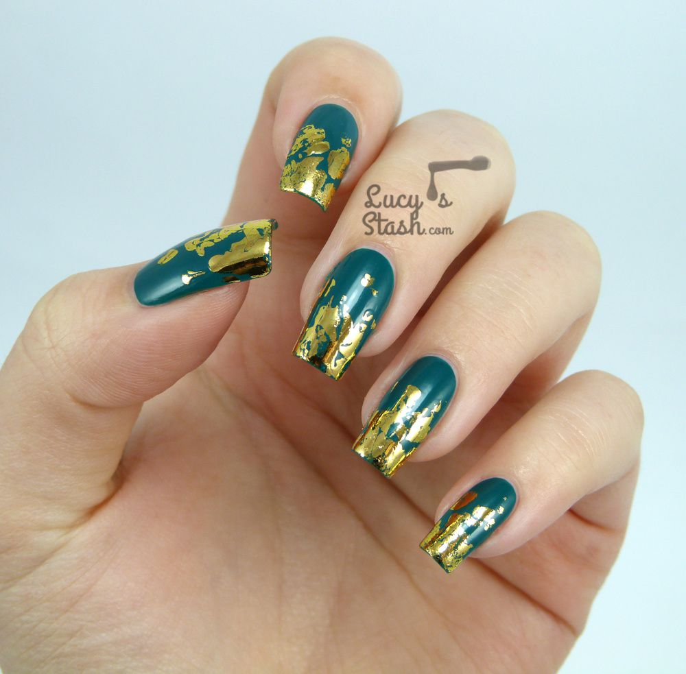 Distressed Gold Nail Foil Design with TUTORIAL