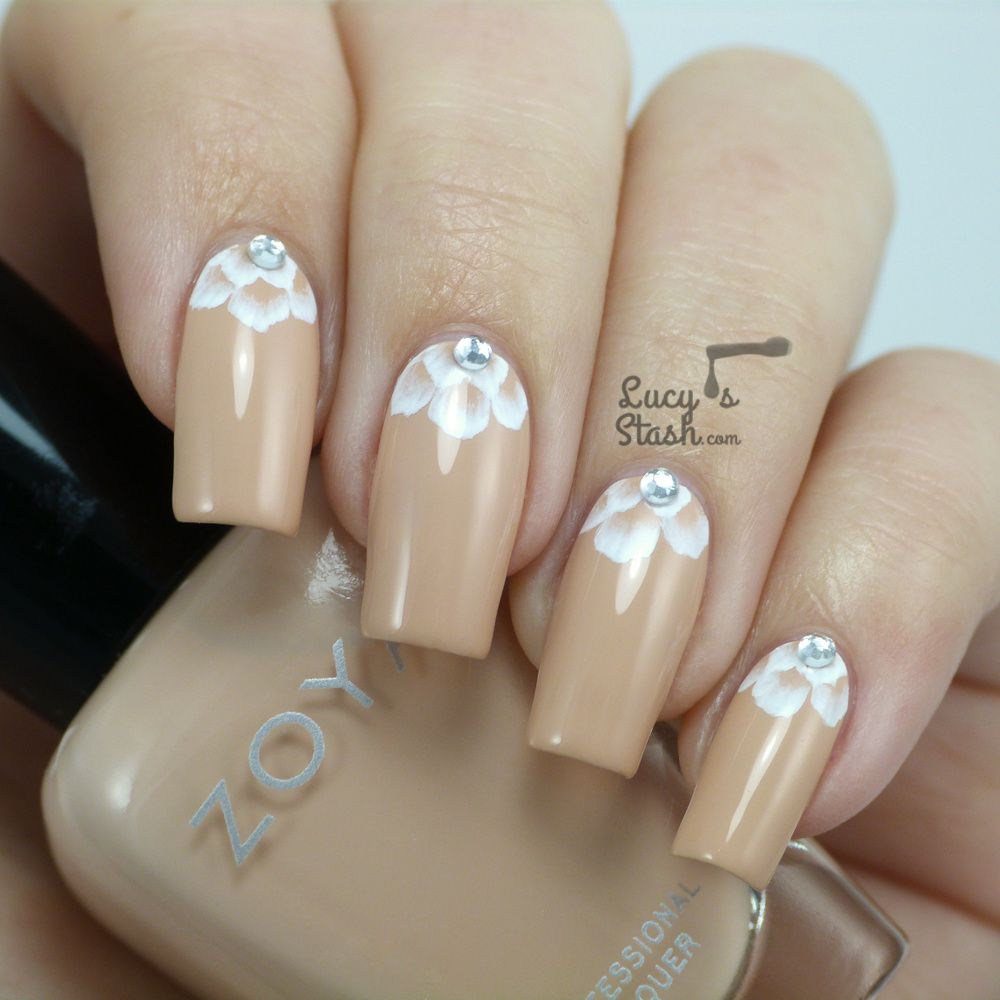 Romantic Bridal Nail Art - One Stroke Half-Moon Design