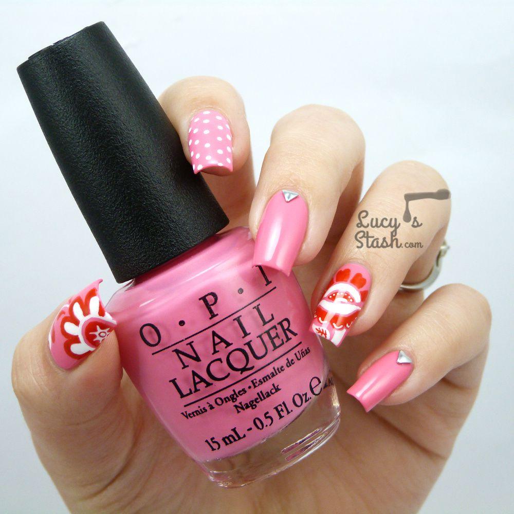 Floral Skittlette Nail Art with OPI Brazil