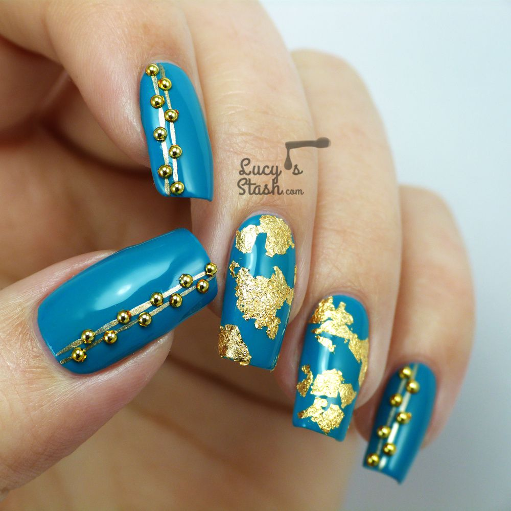 Teal & Gold Nail Art with Rimmel London