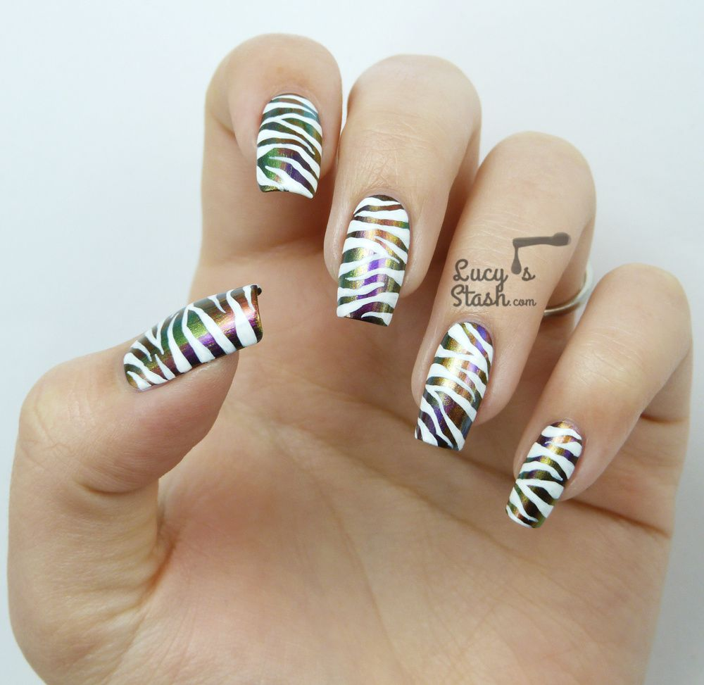 Jewel & White Zebra Print Nail Art feat. Dance Legend Chameleon collection