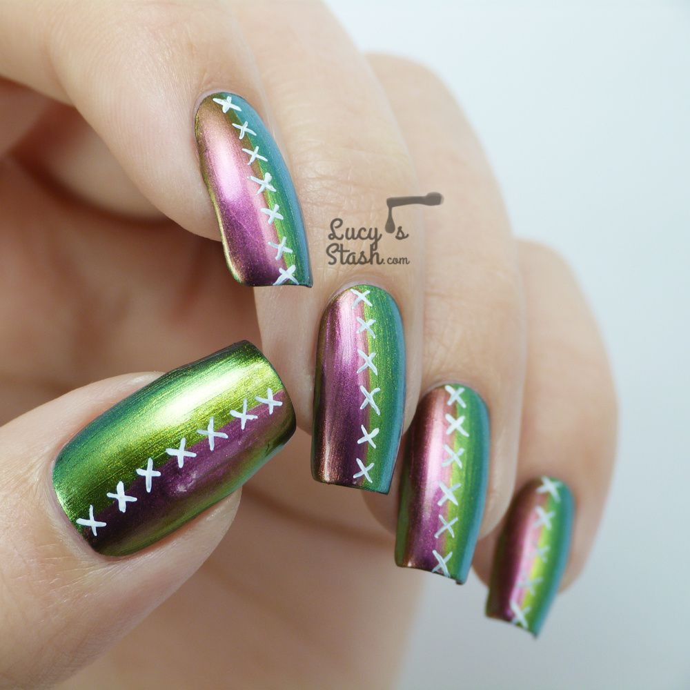 'Stiched Up' Multichrome Nail Art with Dance Legend