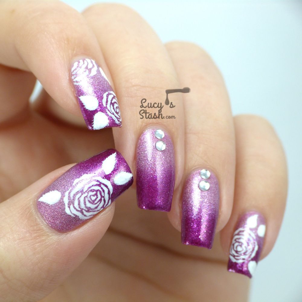 piCture pOlish Monday: Gradient & Roses Nail Art Design