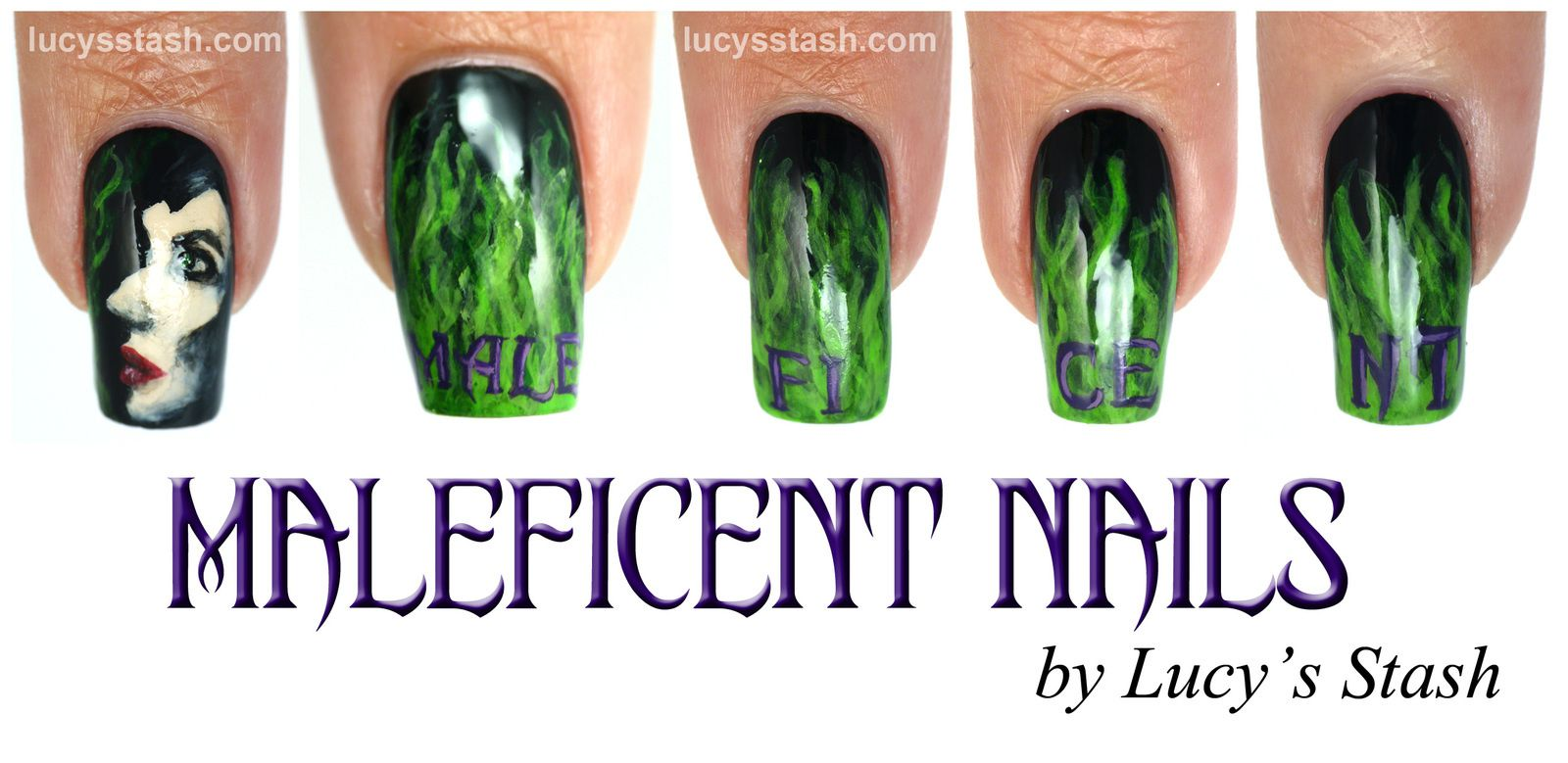 Maleficent nail art manicure with picture TUTORIAL