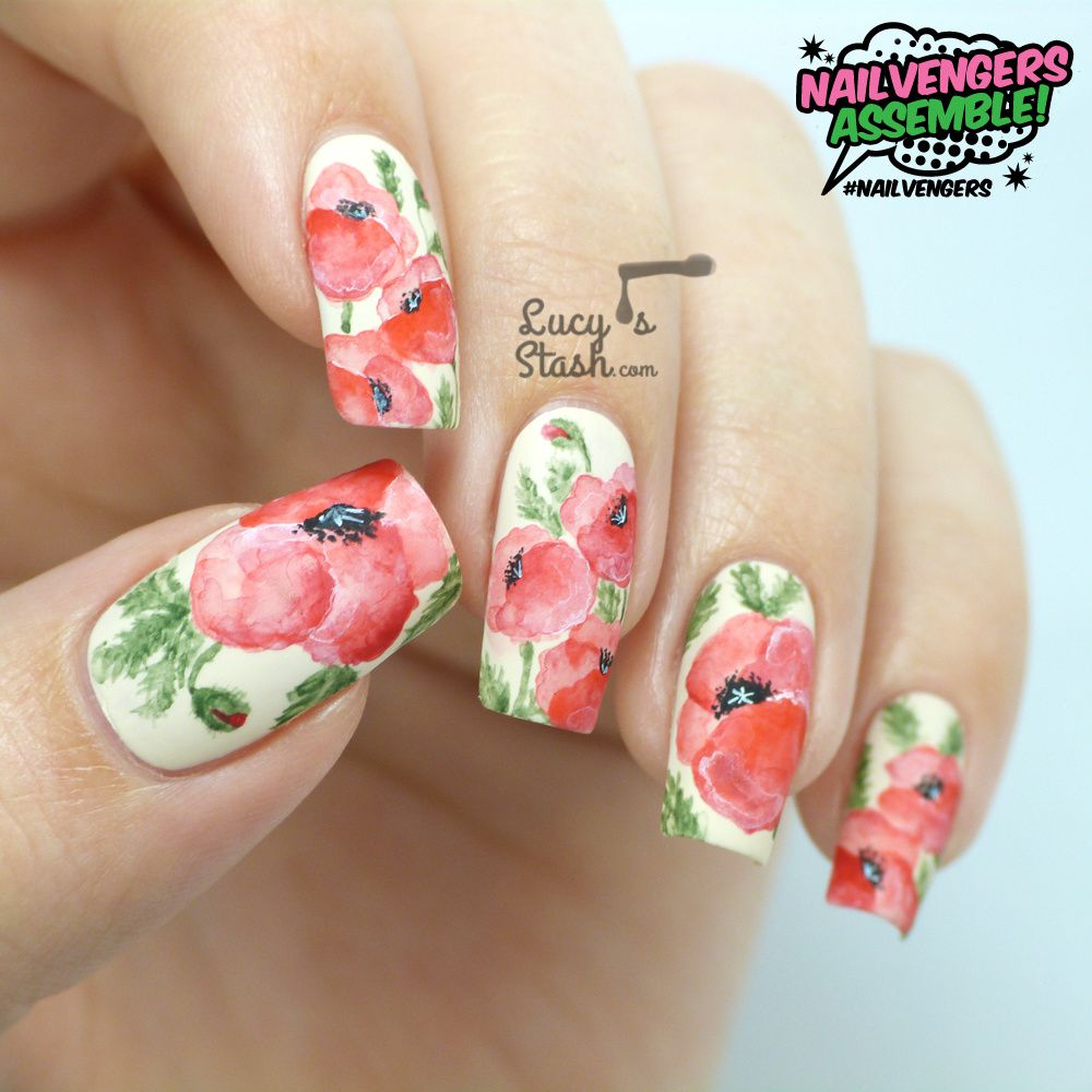 Nailvengers Assemble! - Floral Nail Art | Watercolour Effect Poppies with TUTORIAL