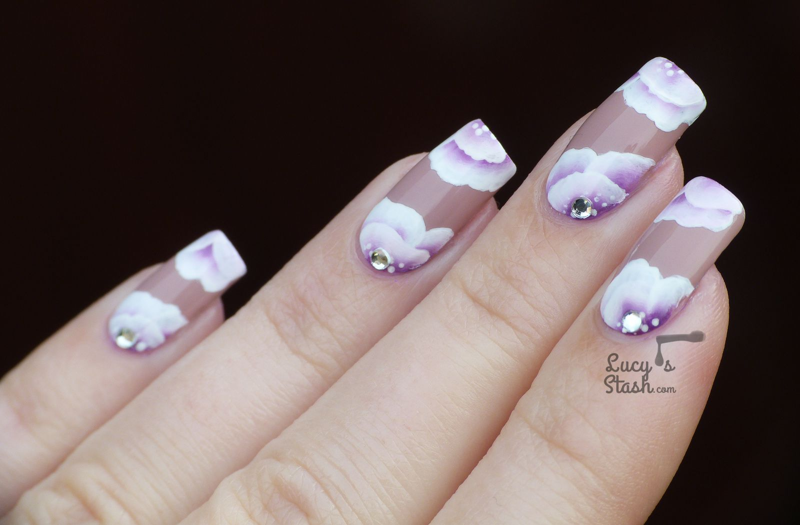 Romantic One Stroke Floral Nails with TUTORIAL