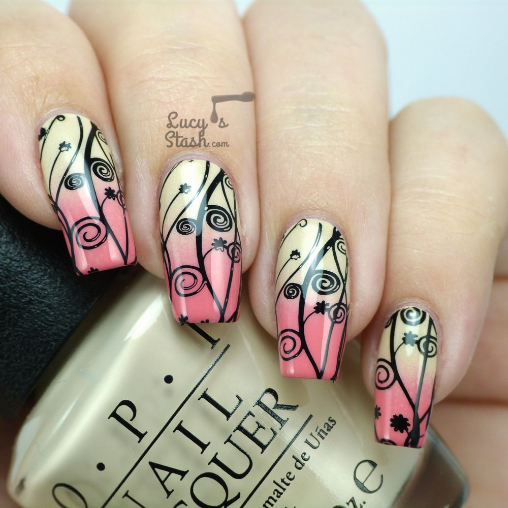 Stamped Gradient Nail Art with Video Tutorial