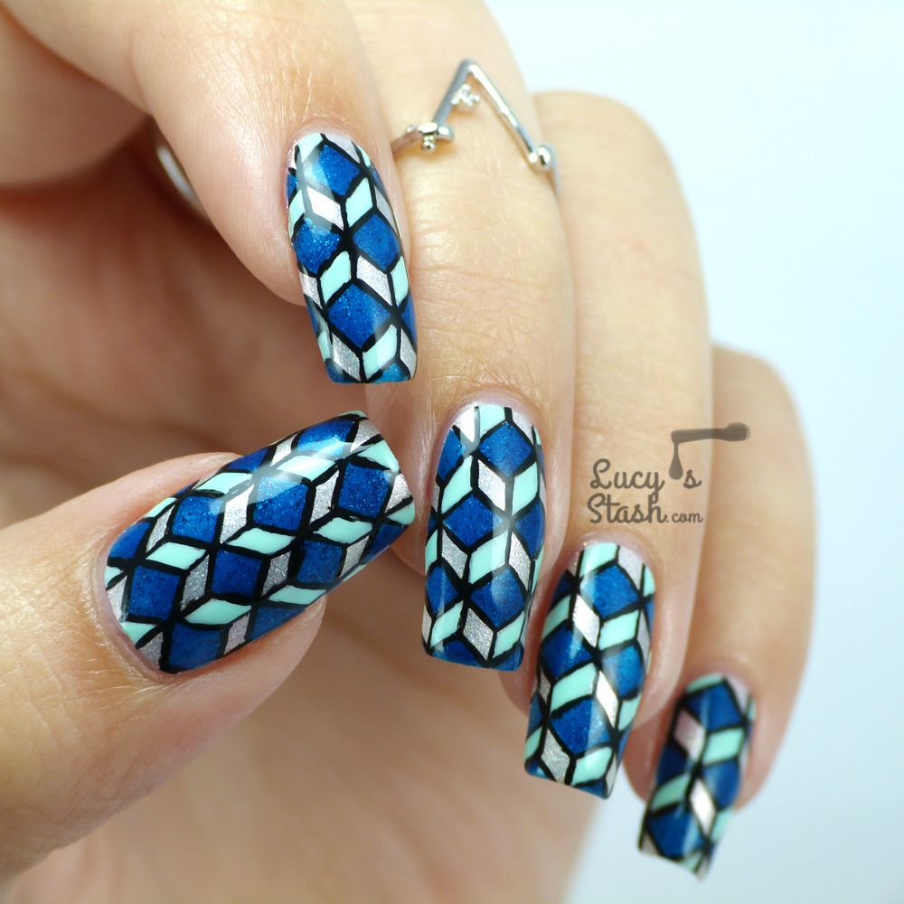 Cube Pattern Nail Art - Take II