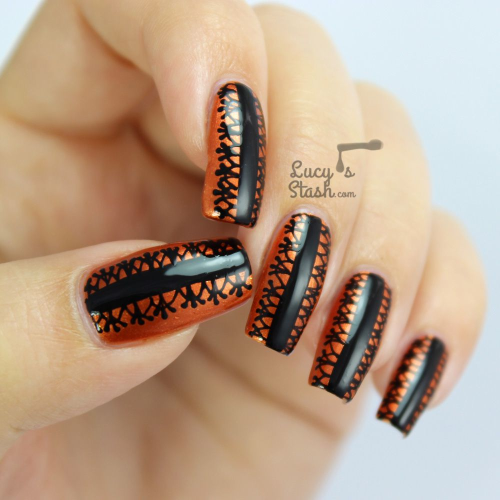 Halloween Style Black Lace Nail Art Design