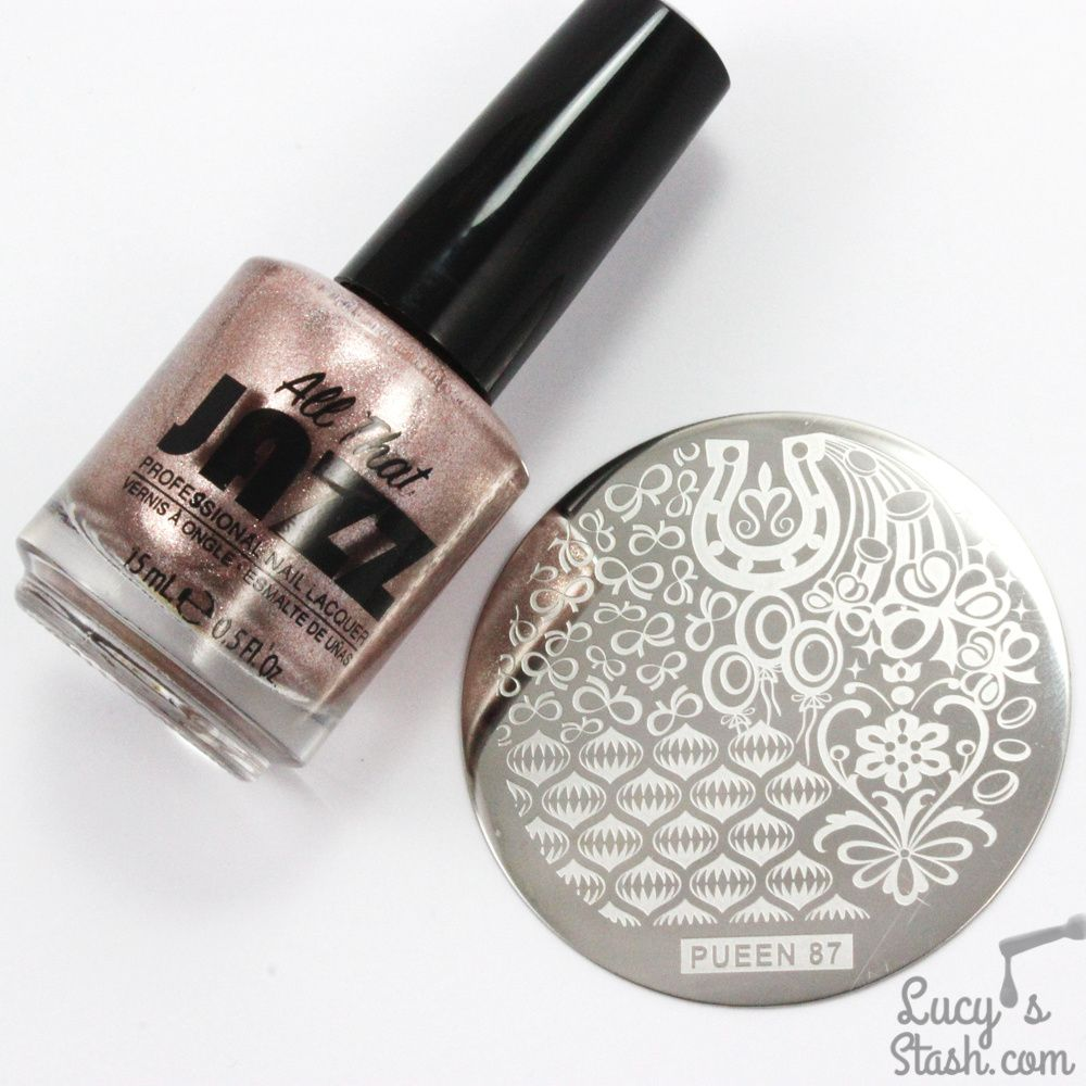 All That Jazz Living In Luxury, Pueen plate #87, Moyou Nails black stamping polish