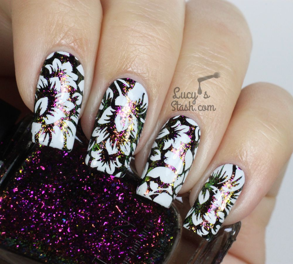 Floral Stamping Meets ILNP Flakies ♥