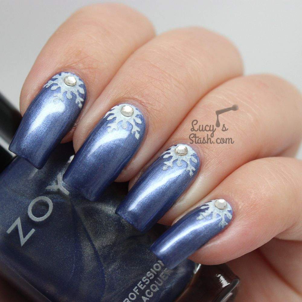 Snowflake Half Moon Nail Art with TUTORIAL