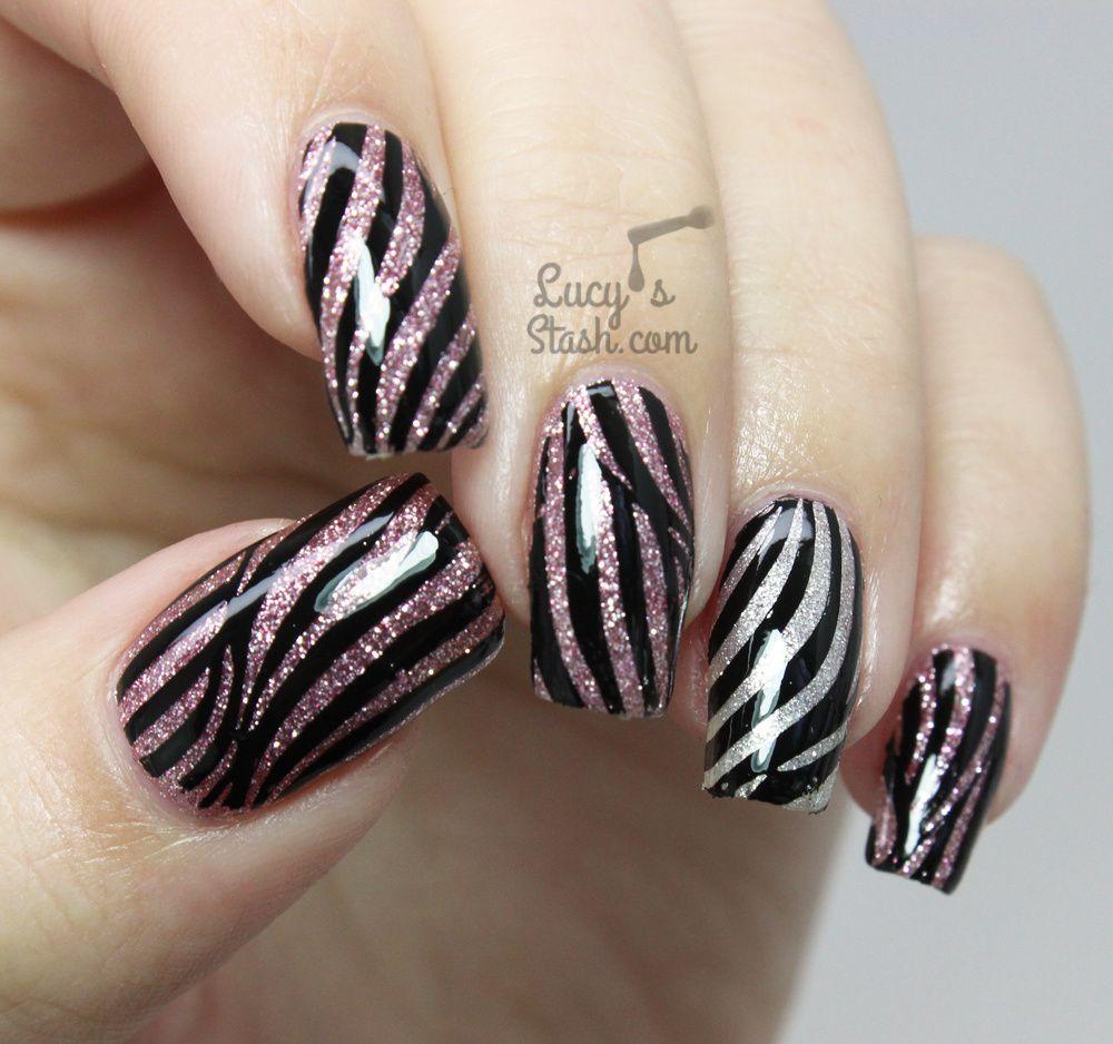 Glitter Zebra Nails feat. Pueen Fireworks Festival Stamping Plate