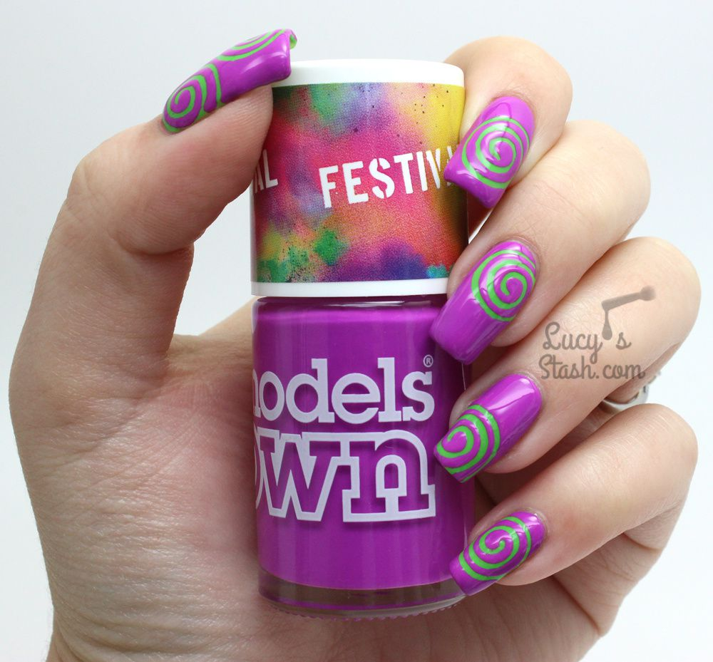 Hypnotic Swirl Nails with Models Own Festival Colours