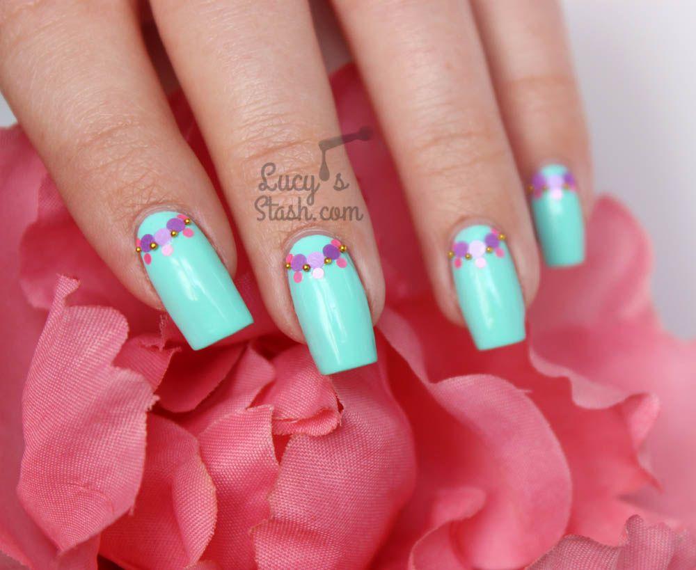 Pastels & Peonies | Glitter Half-moon Nail Art