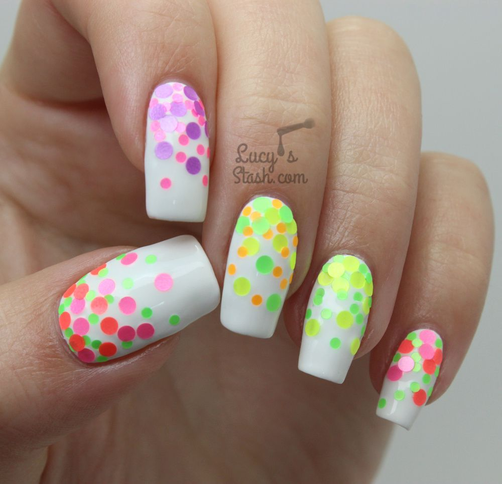 Welcoming Summer with Neon Glitter Placement Gradient