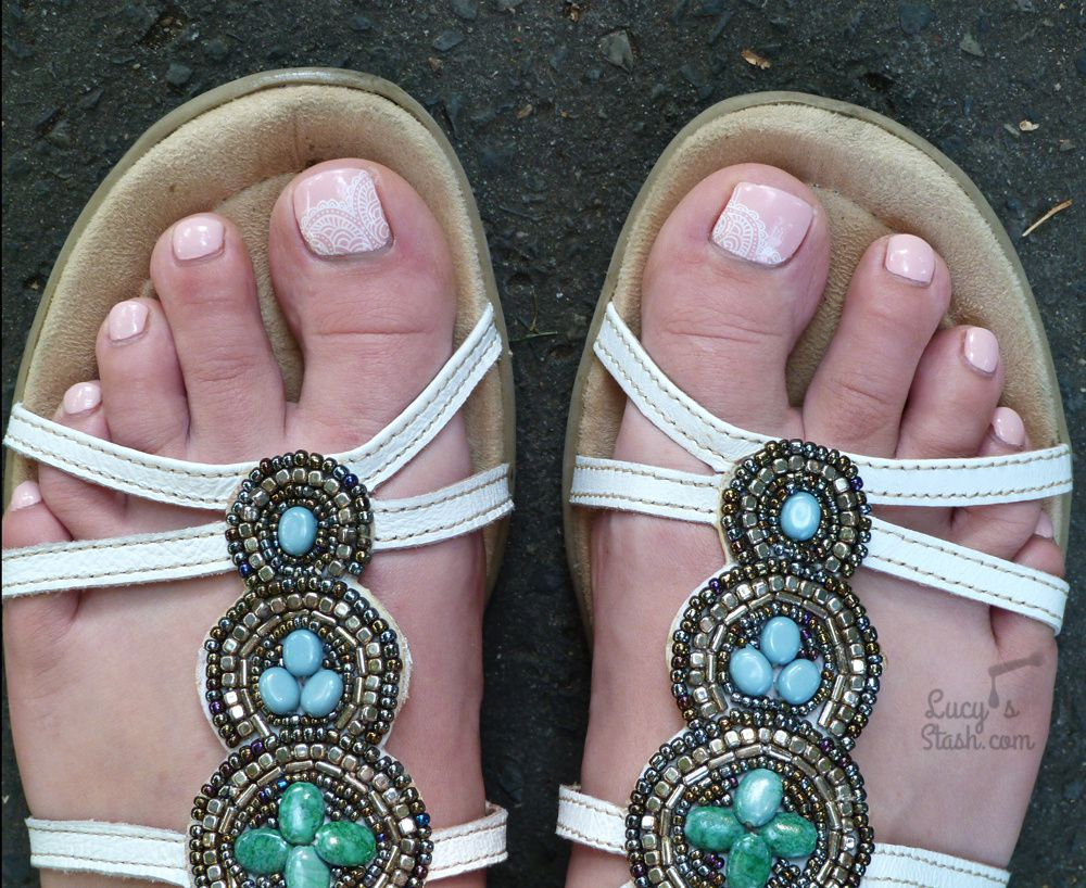 Polished toes as I wore them on my wedding day (photo taken days later)