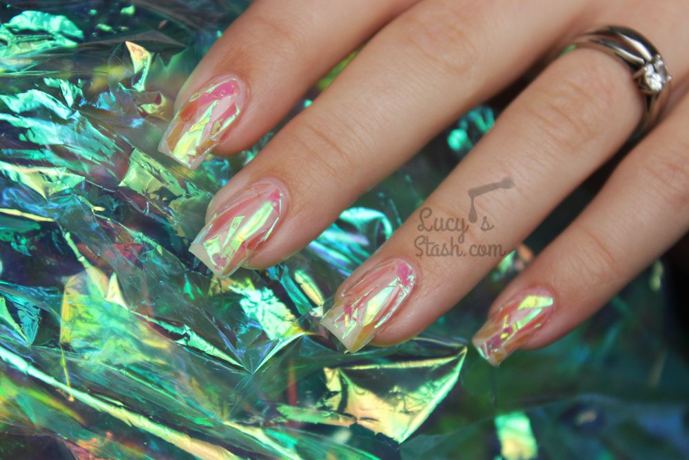 Pink Shattered Glass Nails with TUTORIAL