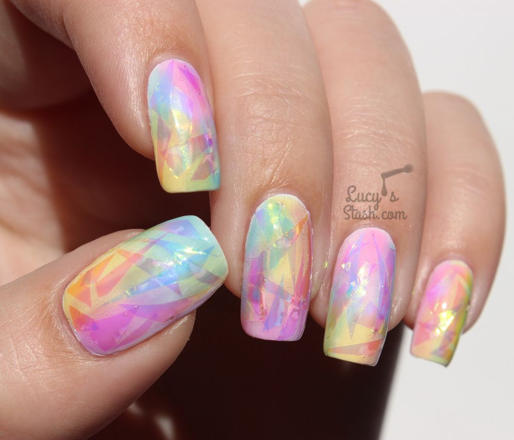 Rainbow Opal Nails TUTORIAL - The Shattered Glass Technique