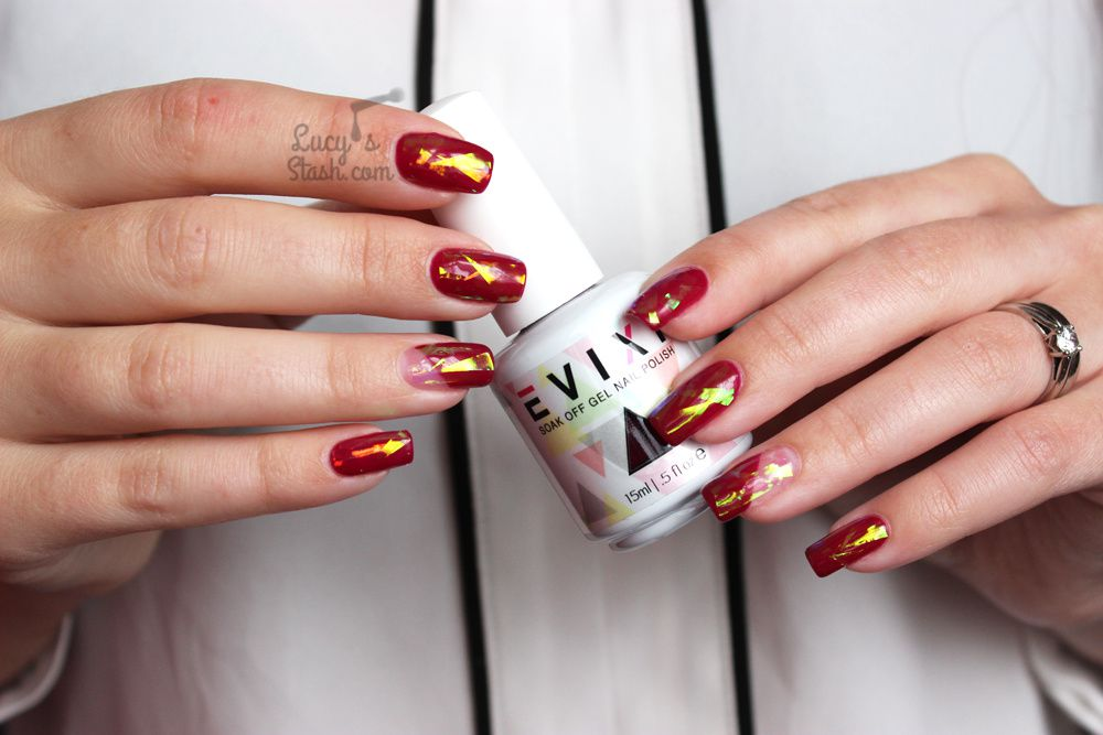 Shattered Glass & Negative Space Gel Polish Nails with Evixi Gel