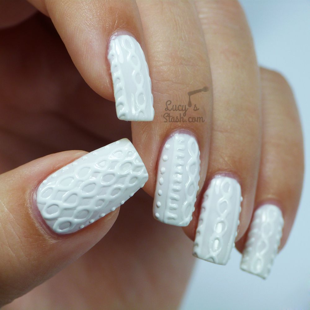 White Jumper Nails with Bio Seaweed Gel   Cable Knit Nail Art