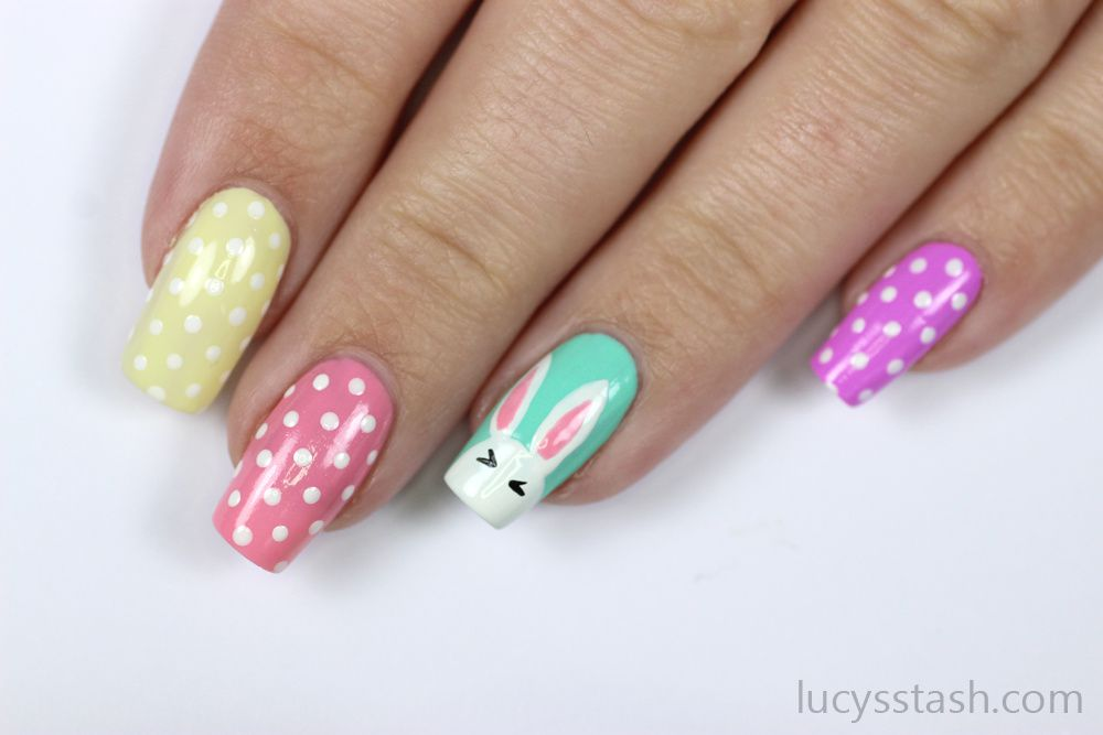 Easter Bunny & Polka Dots Nails | Advanced TUTORIAL