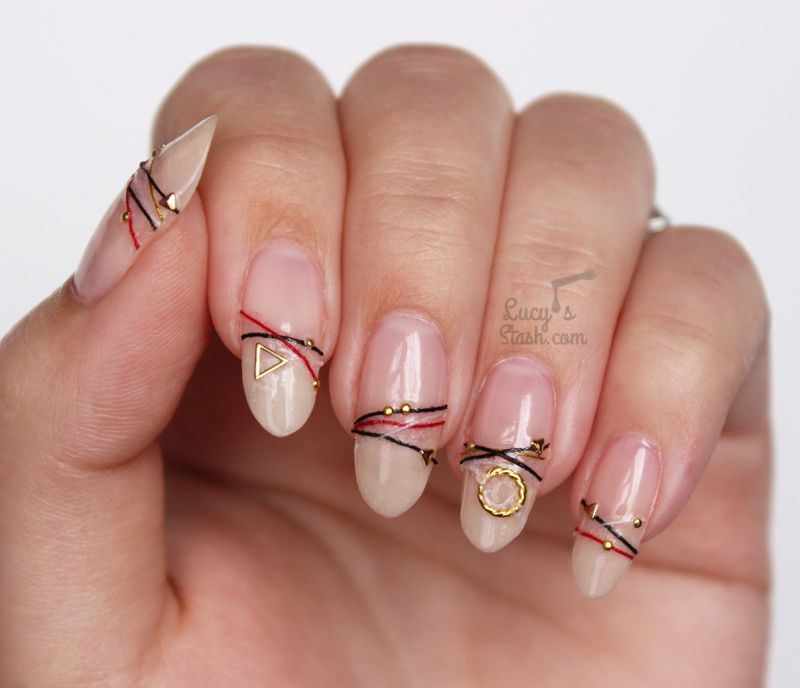 Bracelet Nails DIY Tutorial - How to create your own bracelet nails with nail polish, strings and studs