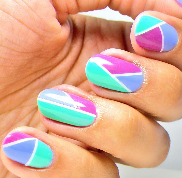 Guest Post: Colour Block Nail Art from Carmina aka Cubbiful