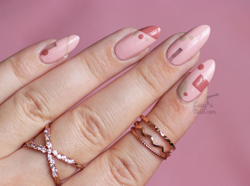 Abstract Nail Art with Models Own Dare to Bare Collection