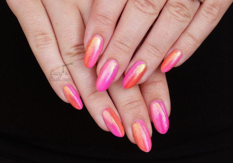 Summer Gradient with Mermaid Effect Glitter   Gel Polish Nail Art