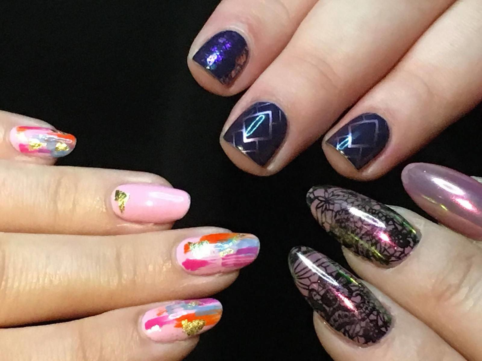 Obligatory blogger nails pic. Myself (left), The Nailasaurus (top) and Natasha Lee (right)