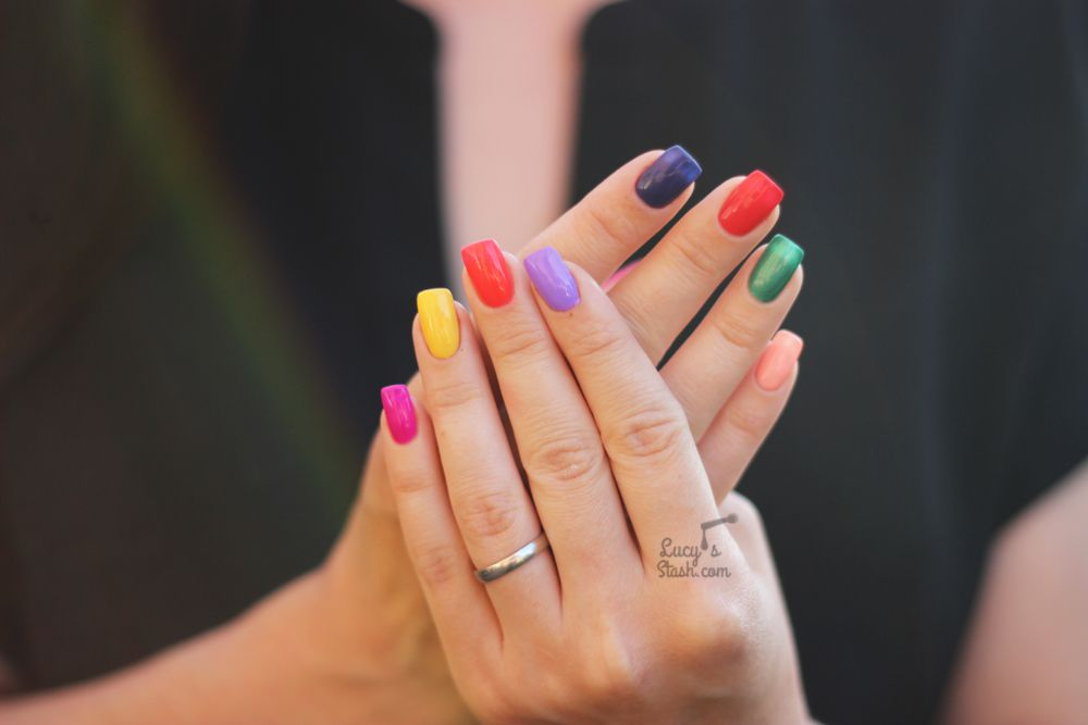 Colourful Rainbow Manicure with LART Hybrid Gel Polish & Bio Seaweed Gel Polish + comparison