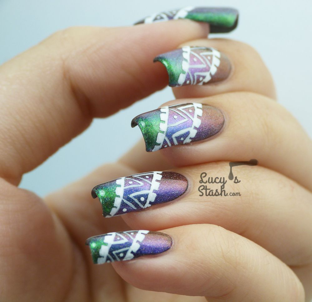 Tribal Nail Art over Three Darling Diva 'Queen' Inspired Shades
