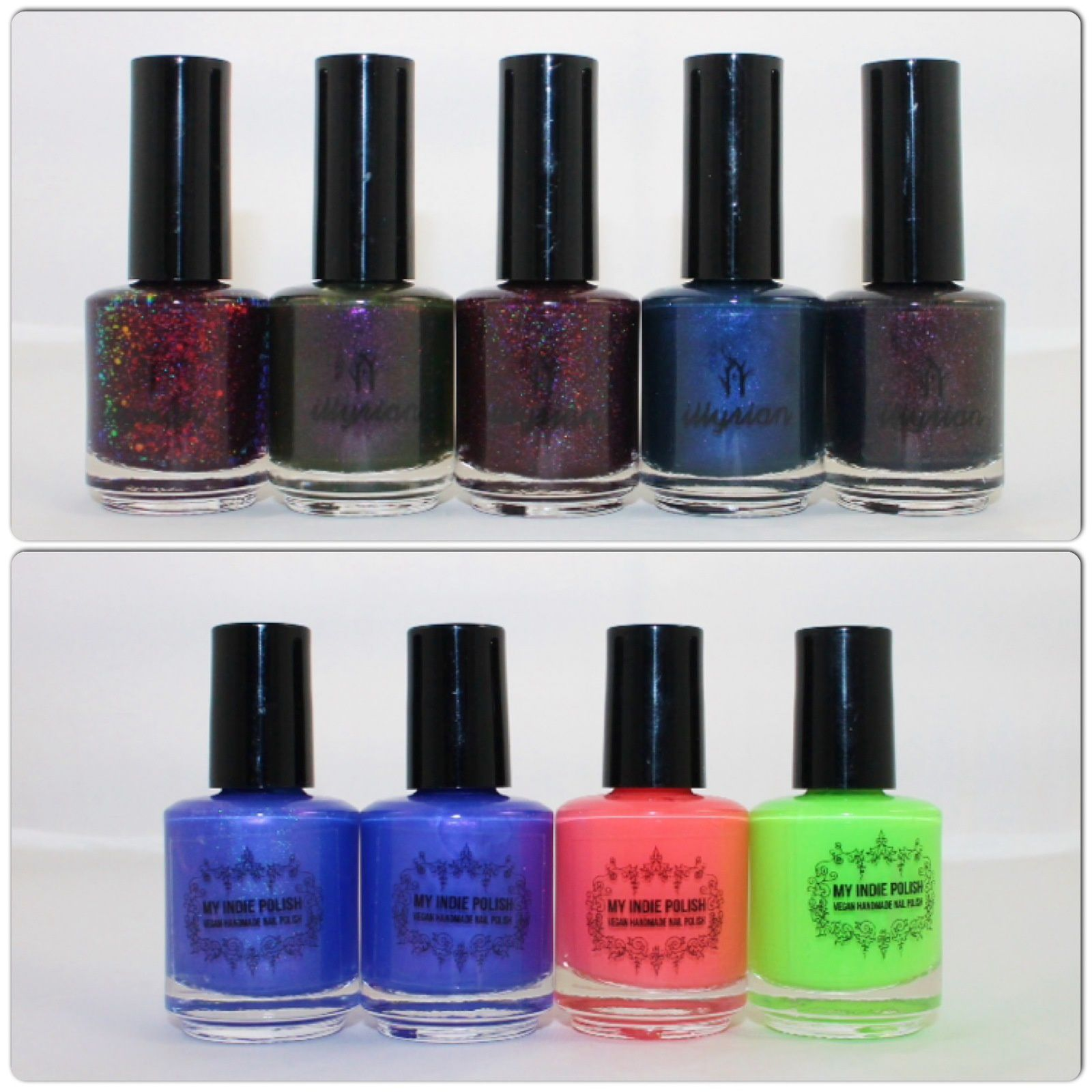 Illyrian Polish Eleven, I'm the Monster, Love Gun, Mouth Breather, Demogordon. My Indie Polish Dream Collector, Serenity, Neon Coral, Neon Lime.