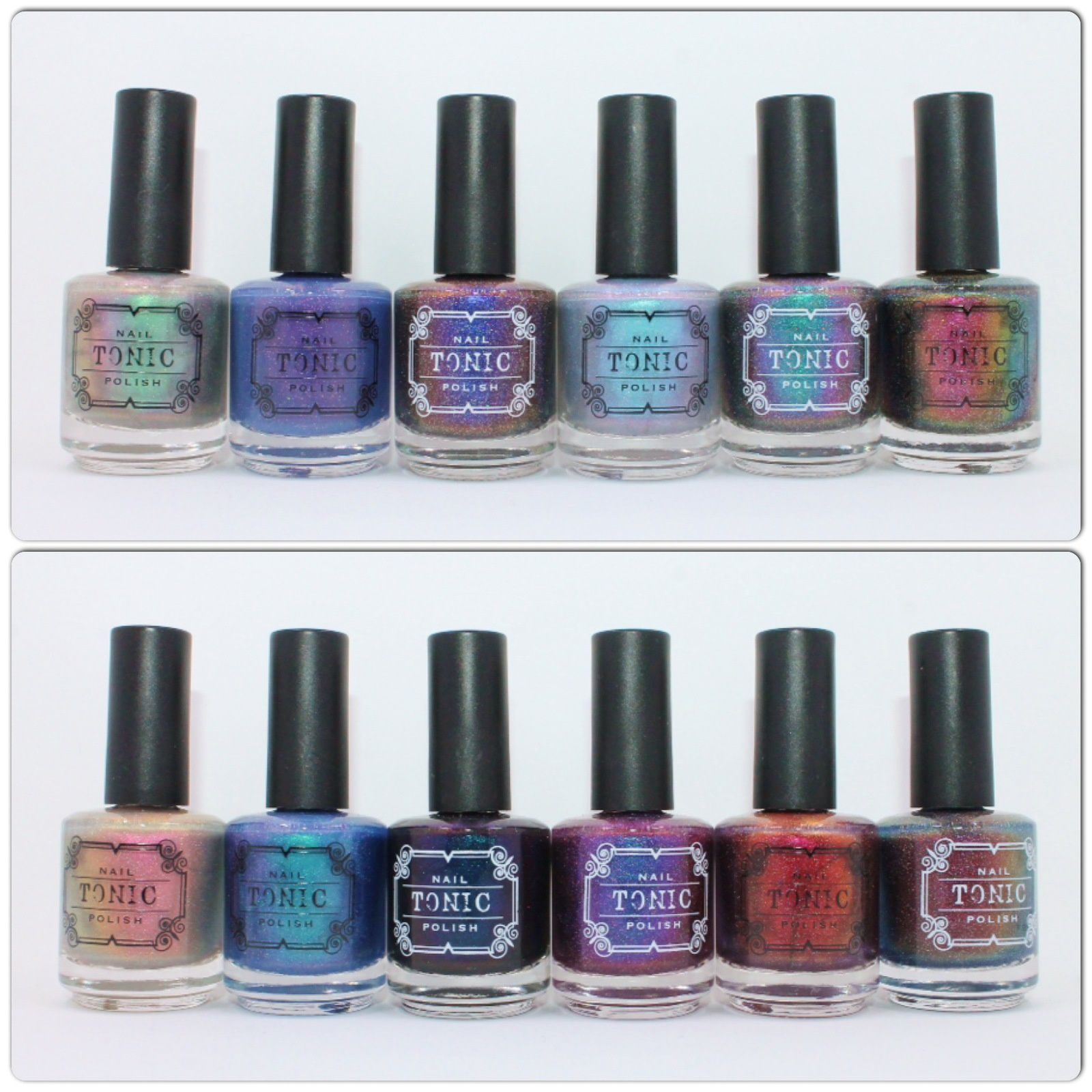 Tonic Polish Greenglow, Stars at Twilight, Magnetic Midnight, Luminescent, Dragon Tears, Mermais Scales, Incandescent, Dorothy, Sophia, Blanche, Rose, Alchemy.