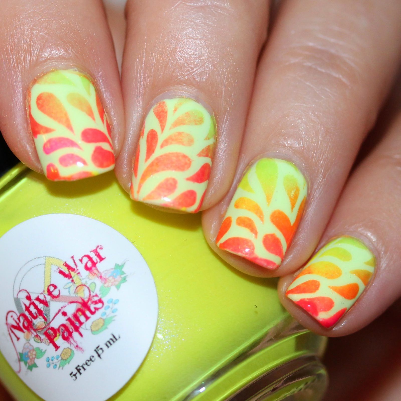 Duri Rejuvacote / Color Club Under The Backlight / Stick It Teardrop Nail Vinyls and sponge gradient with Native War Paints Uranium, Canary Yellow, Nuclear, Cropped Sweater, Watermelon Bubblegum &Tickled Pink / HK Girl Top Coat