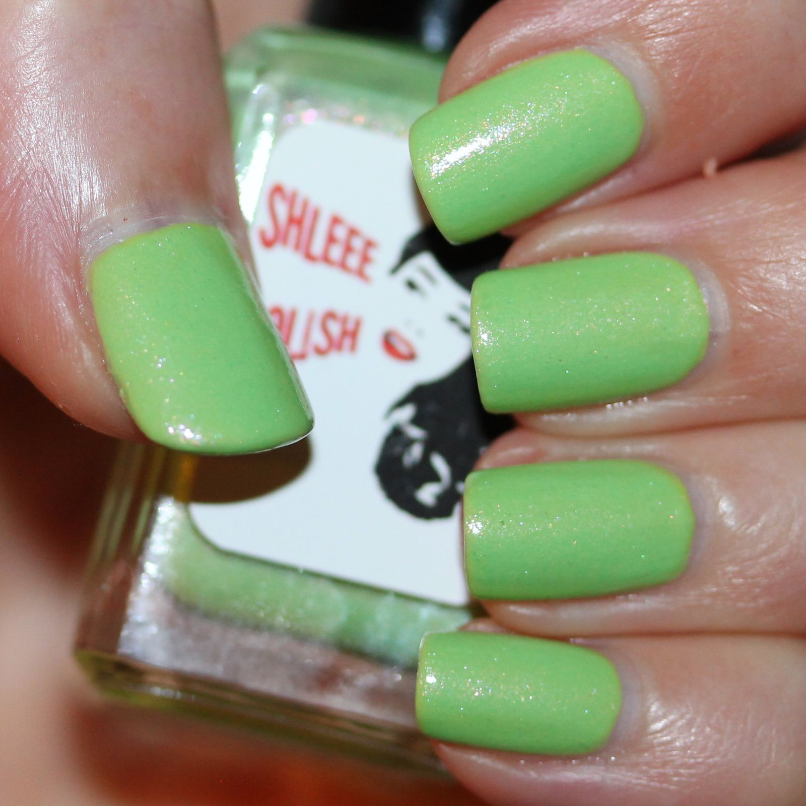 Essie Protein Base Coat / Your Time Green Apple / Shleee Polish High By The Beach 2.0 / Lilypad Lacquer Crystal Clear Top Coat