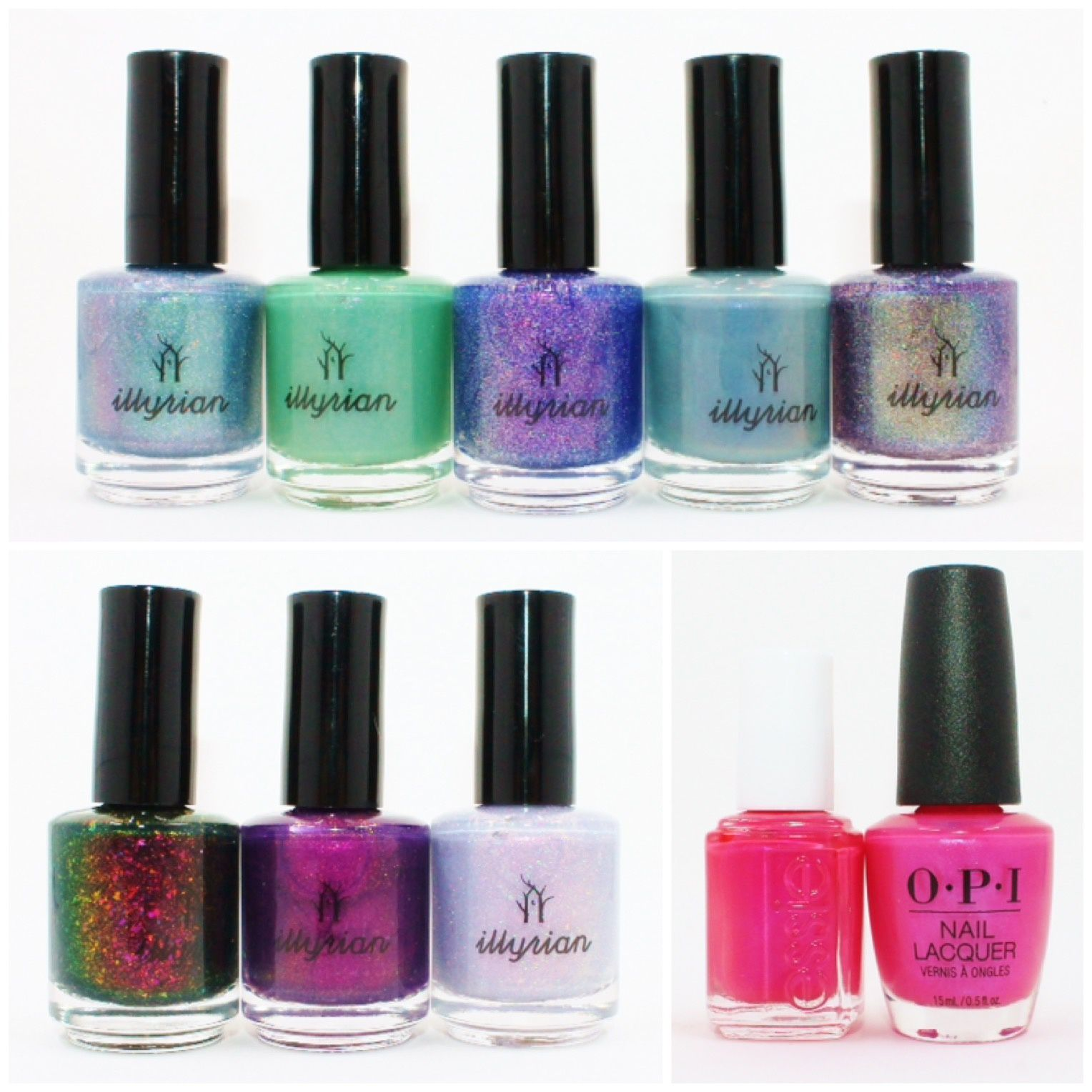 Illyrian Polish Under Your Spell, Illumine, Blue Dream, Prototype 17, Juicy Fruit, Illicit, Illusive, Love Potion. Essie Running in Heels. OPI Hotter Than You Pink.