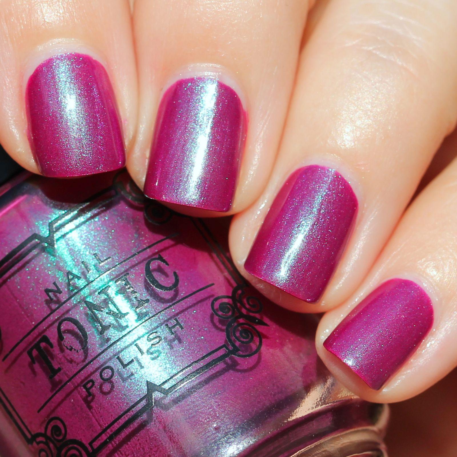 Essie Protein Base Coat / Tonic Polish Berried Un-Teal Spring / HK Girl Top Coat