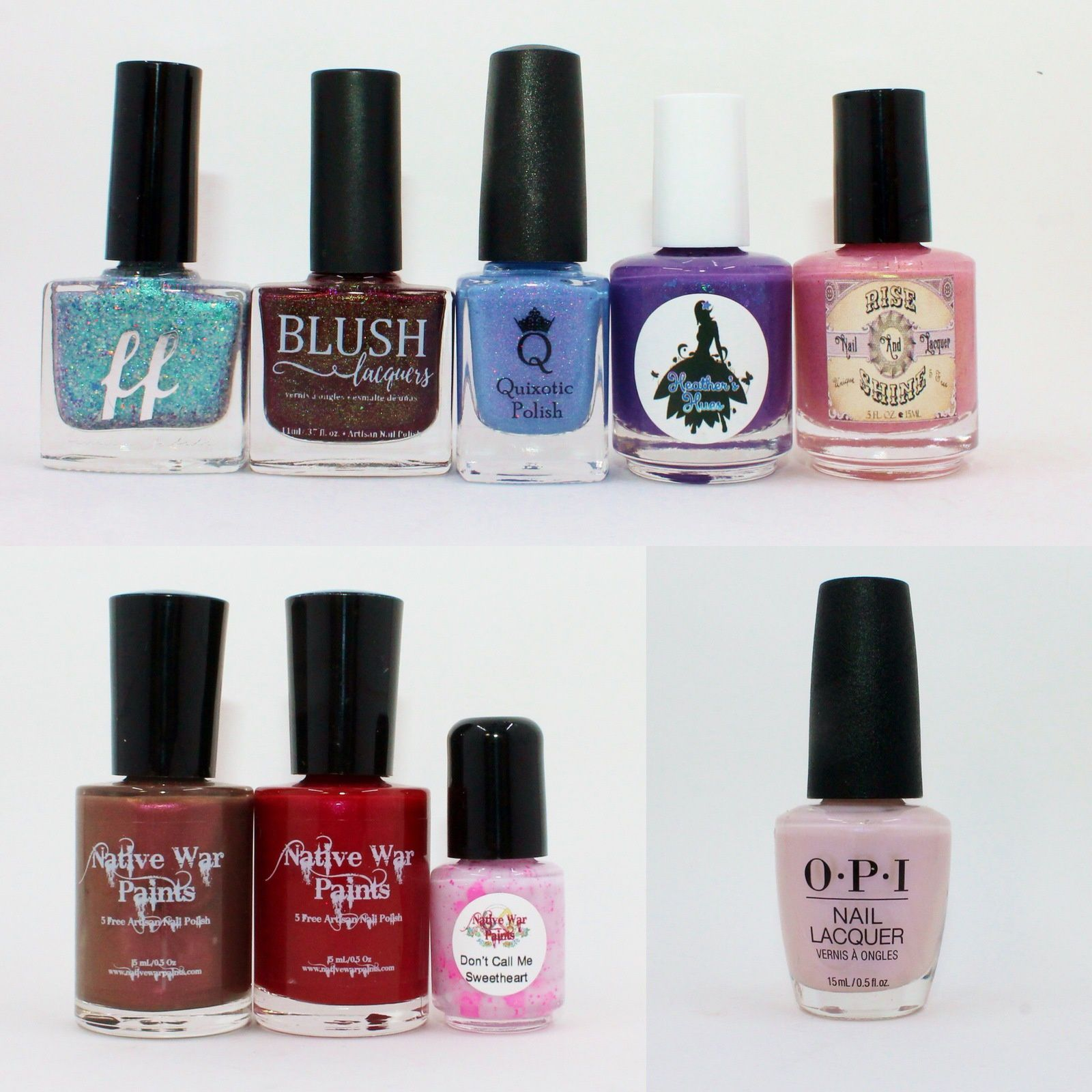 Polish Pickup pack February 2018 (Femme Fatale Cosmetics Mermaid Candy, Blush Lacquer Pocketful of Cherries, Quixotic Polish Sweet Dreams are Made of These, Heather Hues Piece of Cake, Rise and Shine Hello From The Other Side). NWP Monthly Box February 2018. OPI Altar Ego.