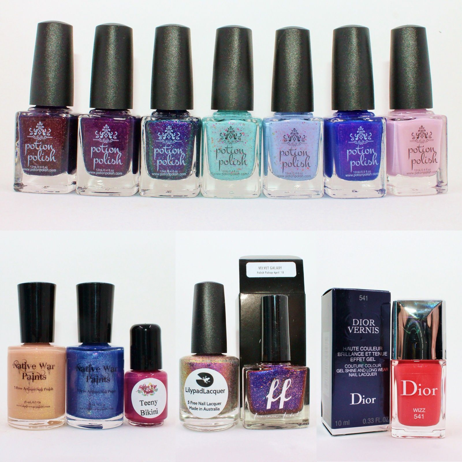 Potion Polish Hot Maple Toddy, Love potion, Dose of Euphoria, Vintage, Transient, Windchill, Afterglow. NWP monthly Box - April 2018. PPickup pack - April 2018 (Lilypad Lacquer Is Anyone Out There? & Femme Fatale Cosmetics Velvet Galaxy).Dior Wizz.