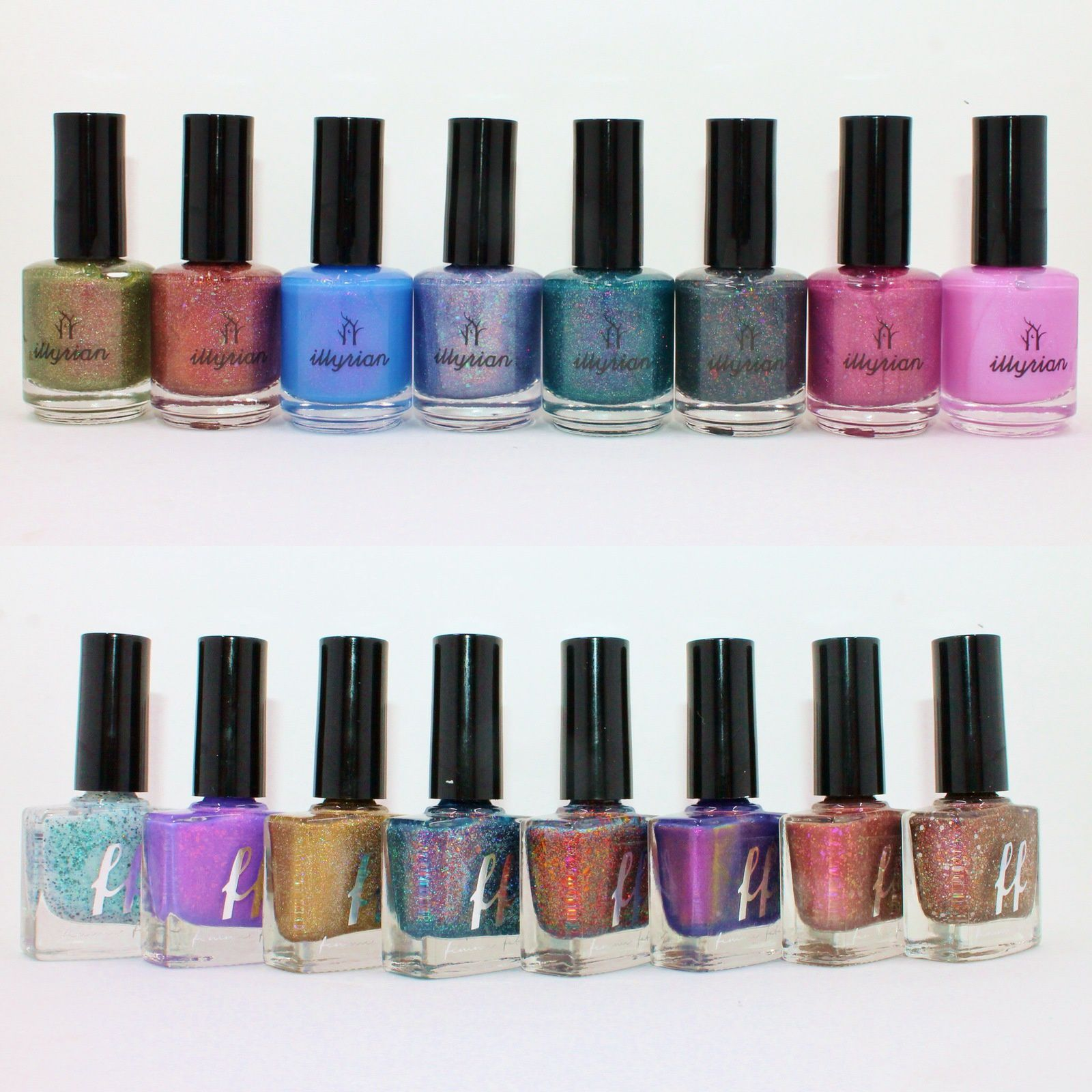 Illyrian Polish Rhapsody, Penny, Lit, Cloud Nine, Trance, Static, Teenage Fever, Afterglow. Femme Fatale Cosmetics Fire Lily Collection.