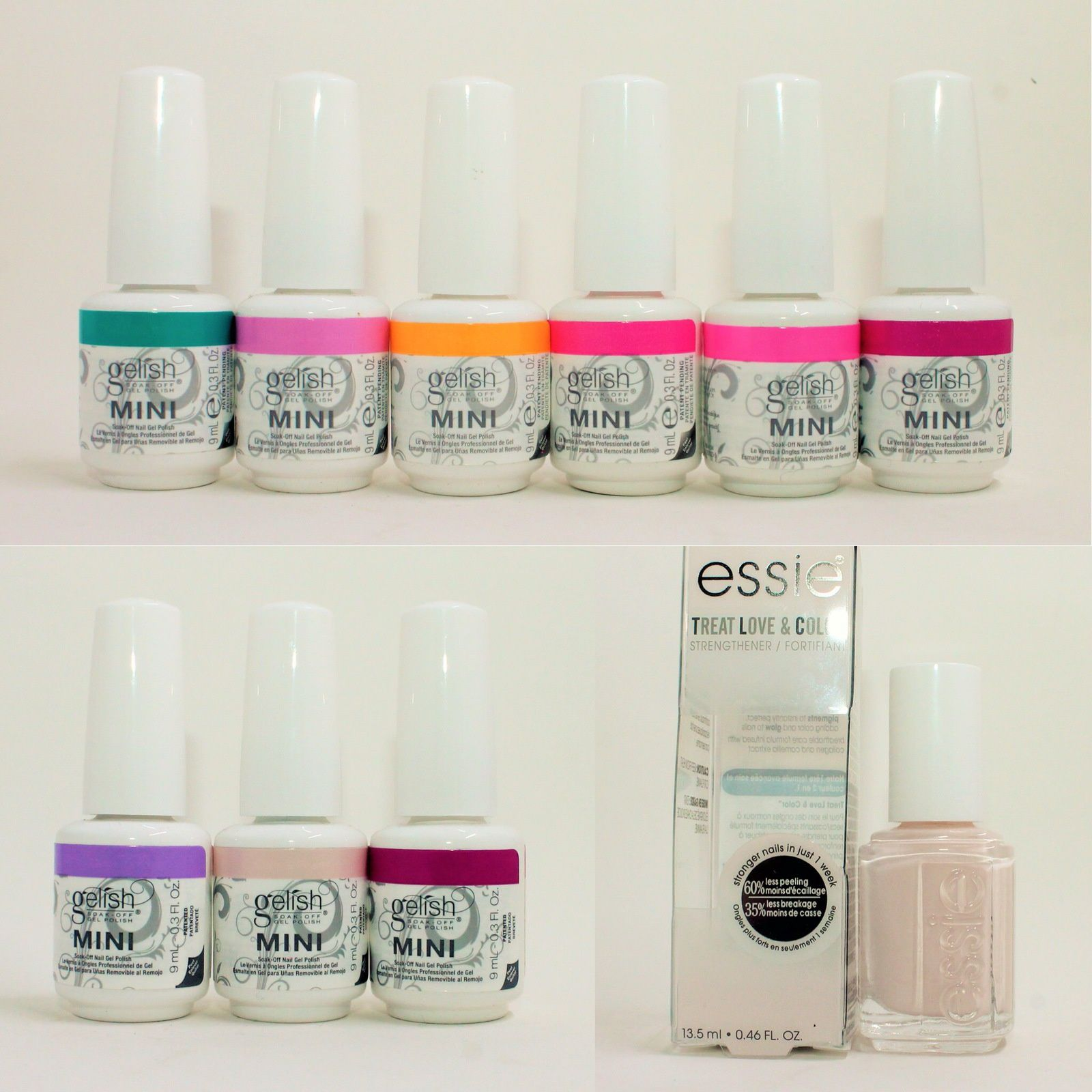 Gelish Mini Neon Street Beat  Collection & Royal Temptations trio. Essie Treat Love & Color In a Blush.