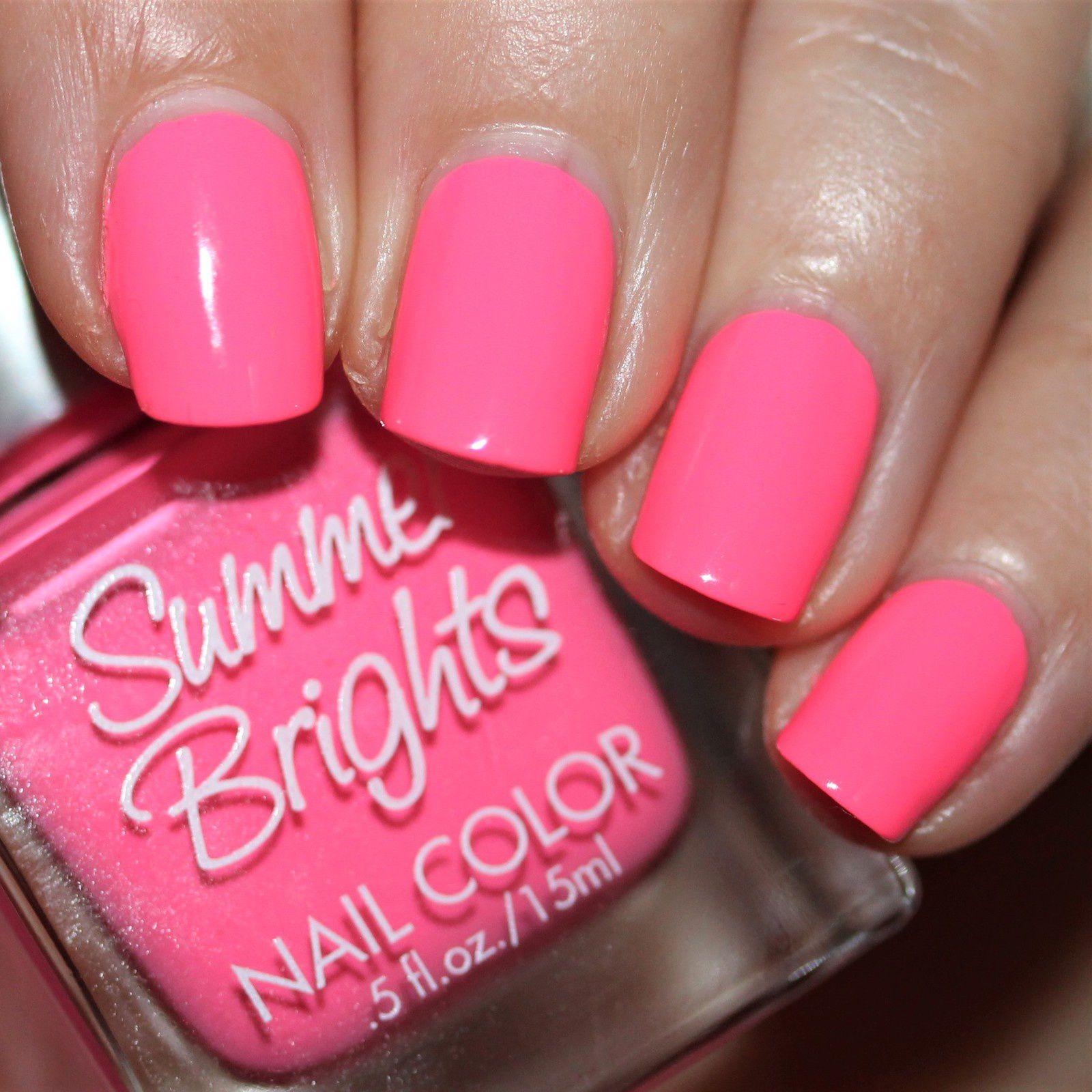 Essie Protein Base Coat / Summer Brights Neon Pink / HK Girl Top Coat