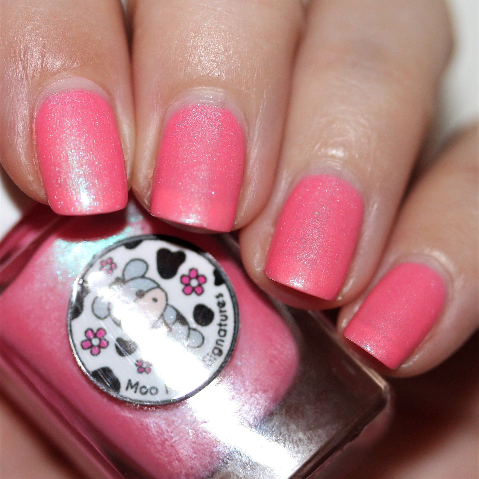 Essie Protein Base Coat / Moo Moo's Signatures Love Brightens Our World / HK Girl Top Coat