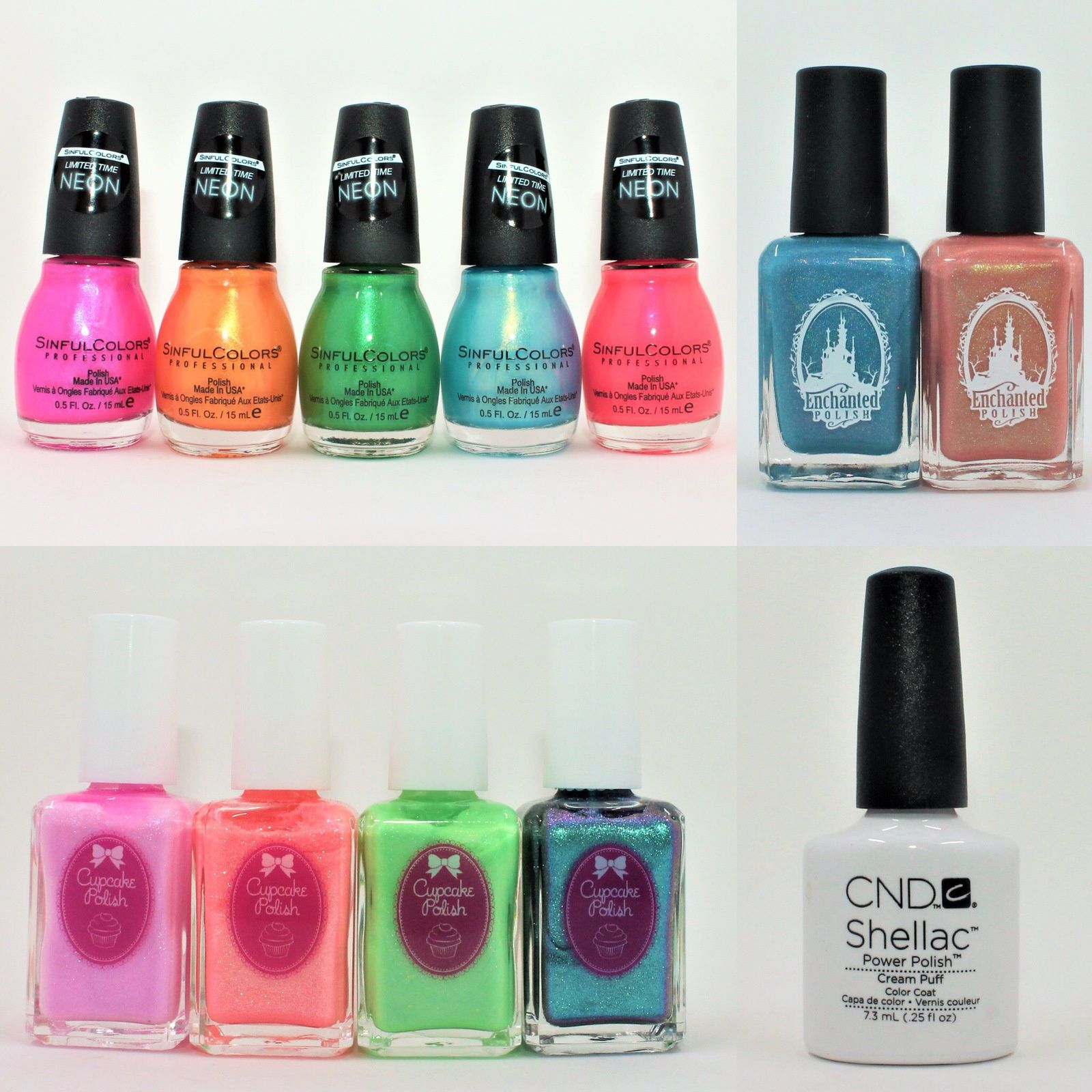 Sinful ColorsSafari Not Sorry, Off Tropic, Palm Down, Poison Arrow, Bird of Paradise. Enchanted Polish July 2018 & August 2018. Cupcake Polish I Scream for Ice Cream, It's Sherbert-day, Game of Cones, Fallout.  CNDC Shellac Cream Puff