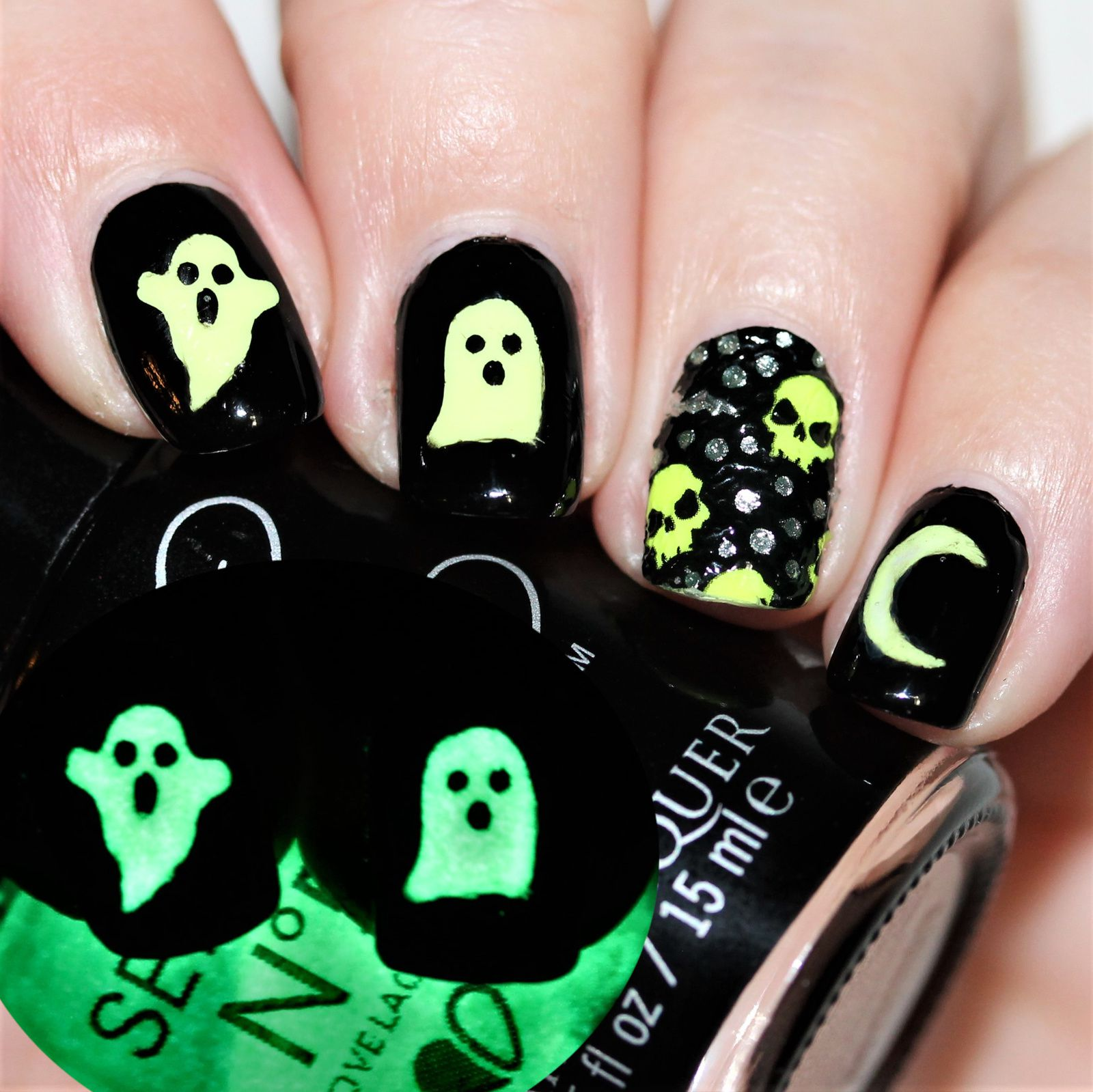 Essie Protein Base Coat / Serum No.5 Day Glow / Snail Vinyls Ghosts / Cult Nails Nevermore / Kiss Nails Dress Bats and Skulls Nail Wraps / Poshe Top Coat