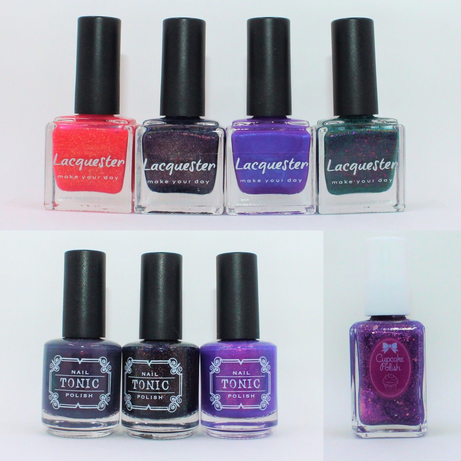 Lacquester Bahama Mama, Violets are Blue, Leave No Purple Behind, Dark Noise of Turquoise. Tonic Polish Pepper, Thriller, River. Cupcake Polish Solstice.