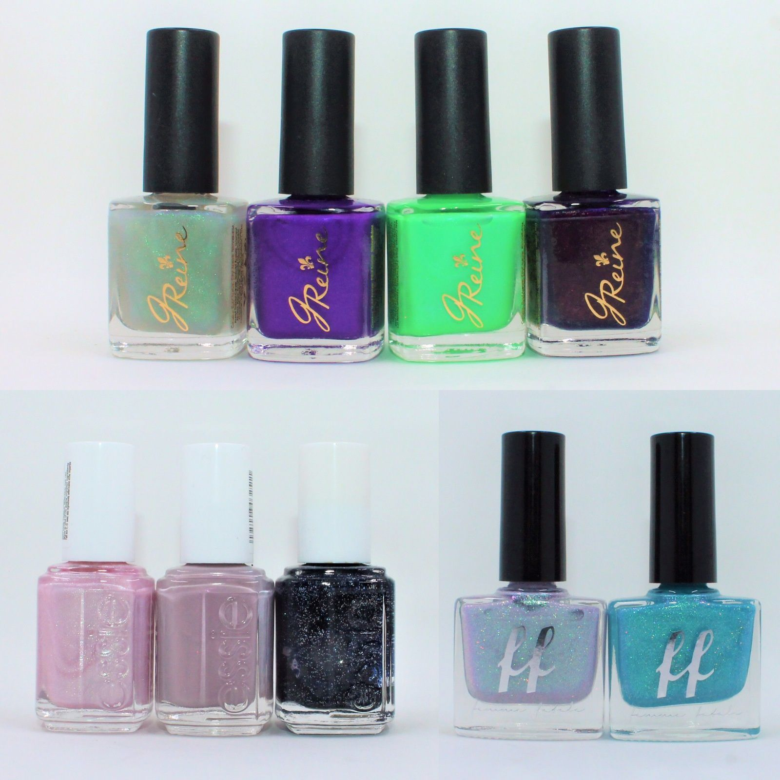 JReine Gulf Waters, Zephyr, Hand Grenade, Karma. Essie Polar-izing, Wire-less is More, Starry Starry Night (old formula). Femme Fatale Cosmetcis Patience, Sky Queen.
